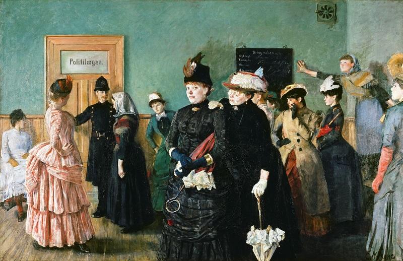 1800-luvun lopun maalaus prostituoiduista poliisikamarilla.